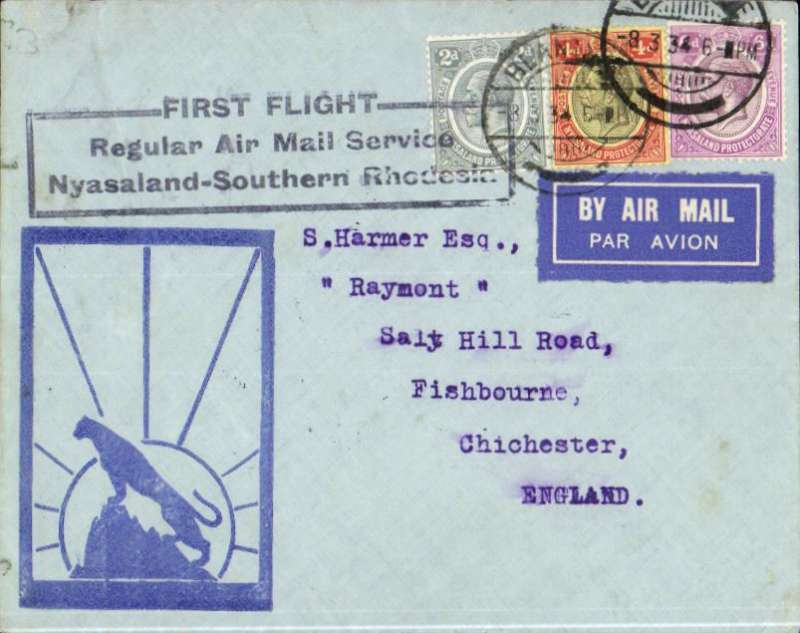 "(Nyasaland) Blantyre to London, bs 19/3, official black framed 'Nyasaland-Suthern Rhodesia' flight cachet, Harmer ""leopard silouhette"" cover, carried on RANA F/F Blantyre to Salisbury, then on IAW Cape-London  flight # AN 157, see Wngent p55, RANA/IAW."