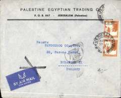 (Palestine) Jerusalem to Budapest, bs 2/7, via Athens 30/6, printed commercial cover franked 2x5P (a third stamp is missing) canc Jerusalem cds, black Greek currency control mark, airmail etiquette cancelled by black cross Jusqu'a applied in Budapest., flown all the way by air, most likely KLM, see McQueen p99.