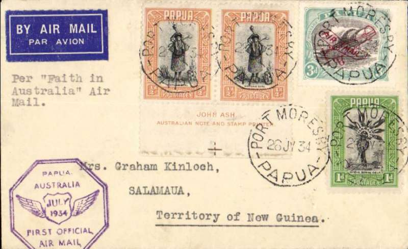 (Papua and New Guinea) Port Moresby to Salamaua, bs 27/7, via Lae 27/7, carried on F/F Papua to Australia, airmail etiquette cover franked 5d, violet F/F cachet.