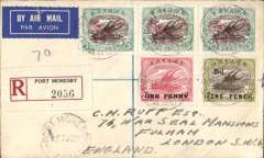 (Papua and New Guinea) Port Moresby to London, bs 26/9, via Brisbane 22/8 and Perth 29/8, airmail etiquette registered cover franked 1/6d inc SG118xs, 125 and 109.