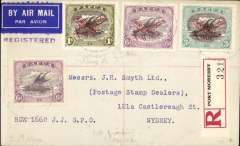 (Papua and New Guinea) Registered (label) airmail cover, Port Moresby to Sydney via Brisbane 18/3 and Cairns 13/3, franked 1930 air opt set of 3 and 1916 6d, Francis Field authentication hs verso.