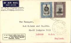 (Papua and New Guinea) Papua to London, carried on first return WR Carpenter Airlines New Guinea-Papua--Sydney, viaTownsville 20/8, etiquette cover franked 3d and 1/3d Papua stamps canc Samarai E.D./Papua/12 AU 38, typed 'By N.G. -Papua-Aust-Singap.London'.
