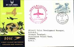 (Philippines) F/F Comet 4, Manila to London, souvenir cover, bs 3/11, BOAC