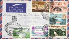 (Rhodesia and Nyasaland) Airmail Cover franked FDI Kariba set of 6, cancelled black oval 'Royal Visit/17 May 1960/ Rhodesia and Nyasaland',