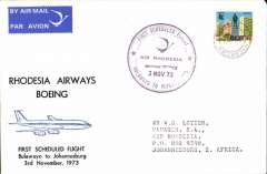 (Rhodesia ) F/F Rhodesia Airways, Bulawayo to Johannesburg, special 4/11 arrival fight cachet, blue/white souvenir cover with drawing of Boeing in flight, franked Rhodesia 4c, cancBulawayo Rhodesia cds. The permitted use of a Rhodesia stamp is significant, because around that time the UK refused to accept it as legal tender.