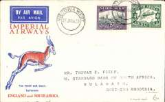 (South Africa) Imperial Airways F/F Cape Town to Bulawayo, bs 28/1,via Jo'burg 27/1, Springbok souvenir cover franked 6d.