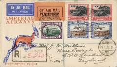 (South West Africa) SWA Regular Feeder Service, F/F Windhoek to Kimberley, registered (hs) Imperial Airways 'Springbok' cover franked 3d and 4d pairs and 4d, special dated 'Windhoek-Kimberley' first flight cachet front and verso, small circular 'Windhoek/Airmail/26.1.32' on front, and scarce RLS Windhoek/S.W.Africa (old type German) postmark verso.