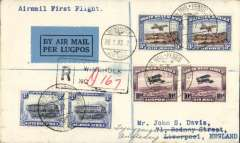 (South West Africa) SWA/Imperial Airways, fist acceptance of mail for Great Britain for carriage on SWA F/F Windhoek to Kimberley and Imperial Airways F/F Cape Town to London, registered (hs) cover franked 1931 air set 3d an 10d pairs, and 3d pair ordinary, green blue/black airmail etiquette tied by registration hs. A particularly attractive double F/F cover in fine condition.