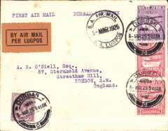 (South Africa) GovtExperimental Air Mail Service, F/F Durban to Cape Town, no arrival ds, and on to England, plain cover franked 8d, special Wyndham Type 1 cachet (year error, 26 instead of 25) black/orange etiquette. Service terminated on June 15th.
