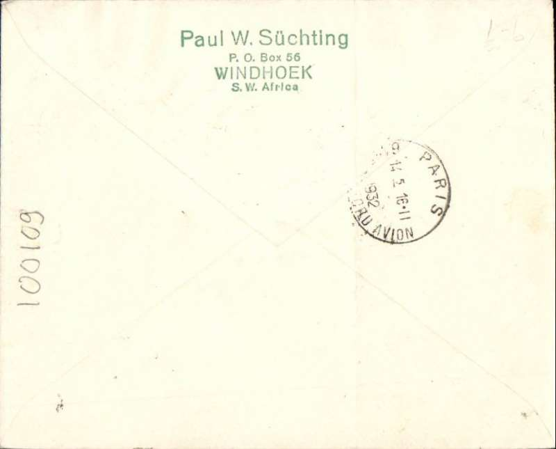 (South West Africa) SWA/Imperial Airways, fist acceptance of mail for Germany, Windhoek to Hamburg, red 'Mit Luftpost/befeordert/Hamburg-Fuhlsbuttell/Flughafen' receiver, for carriage on SWA F/F Windhoek to Kimberley and Imperial Airways F/F Cape Town to London services, plain cover franked SA 4d/ SWA x3 , canc special Windhoek-Kimberley cachet cds, small circular Windhoek/26.1.32/Air Mail cds, green blue/black airmail etiquette. An attractive double F/F cover in fine condition. Ironed vertical crease, does not detract.