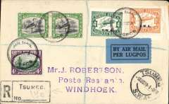 (South West Africa) SWAA first provisional internal service, Tsumeb to Windhoek,  bs10/8, registered (hs) cover franked 4d tied by small black circular 'Air Mail/Lugpos cds, also Tsumbo/SWA cds. Scarce