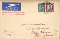(South Africa) SAA F/F Germiston to Blomfontain, bs 1/4,  South African AW, carried on the new service Rand to Cape Town via BLomfontain, plain cover franked 1 1/2d.
