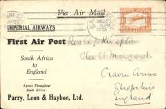 (South Africa) Imperial Airways interrupted flight Jo'burg to London, no arrival ds, carried on F/F Cape Town-London service, left Cape Town January 27 but forced down at Broken Hill, Northern Rhodesia, delayed 7 days, Parry, Leon and Hayhoe cover franked 1/- .