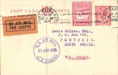 "(South Africa) Likely last flight Govt. Experimental Airmail Port Elizabeth to Pretoria, no arrival ds, via Durban, 1d PC with additional 1d, canc Port Elizabeth 15 Jun 25 cds, violet dr ""SA Air Mail/SA Lugpos/15 Jun 1925"" cachet. Service terminated on June 15th."