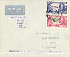 (Southern Rhodesia) Scarce RANA F/F internal flight, Umtali to Salisbury on Salisbury-Beira route, b/s 5/10, imprint airmail cover franked 4d.  Only 15 flown.