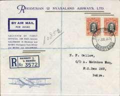 (Southern Rhodesia) F/F Salisbury to Beira, bs 4/8, registered (label) official cover inc picture of Leopard Moth front and larger version verso, Rhodesia and Nyasaland Airways, also original Registered Letter slip. Nice item.
