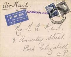 """(Southern Rhodesia) Salisbury to Johannesburg, bs 21/12, carried on Imperial Airways first England-South Africa experimental Christmas flight, Springbok souvenir cover franked 5d, large violet two line """"By First Air Mail/From S. Rhodesia"""" cachet. Written up on album leaf with map of route. Ironed vertical crease, hardly detracts."""