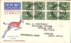 "(Southern Rhodesia) Imperial Airways experimental flight, Bulawayo to Cape Town, bs 21/12, black straight line ""Experimental Flight"" hs, orange, blue/cream Springbok souvenir cover franked block of 8 x GV 1/2d, Imperial Airways."