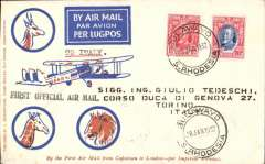 (Southern Rhodesia) Imperial Airways interrupted flight first flight Salisbury to Turin, Italy bs 16/2, via Cairo 12/2, scarcer Robertson souvenir cover franked 11d, black 'First Official Air Mail' cachet, carried on first regular flight Cape Town-London. En route from Salisbury the City of Delhi had to make an emergency landing due to bad weather near Broken Hill. The mail was transferred to the City of Baghdad, and the mail arrived in Athens 9 days later than scheduled.