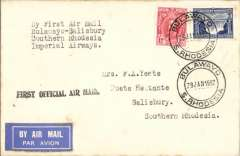 (Southern Rhodesia) Imperial Airways F/F Bulawayo to Salisbury to Bulawayo, bs 28/1, plain cover franked 4d, black 'First Official Air Mail' cachet.