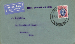 """(Southern Rhodesia) Imperial Airways F/F Salisbury to London, no arrival ds, red/blue/grey official souvenir envelope (20x9cm) from SR with inset picture of Rhodes, carried on 1st regular Cape Town- London service, st. line """"First Official Air Mail"""" cachet."""