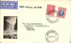 """(Southern Rhodesia) Imperial Airways interrupted flight first flight Salisbury to Athens, bs 13/2, via Cairo 11/2' carried on 1st regular Cape Town- London service, attractive cover with inset B&W photoprint of Victoria Falls, franked 11d, black st. line """"First Official Air Mail"""" cachet. Carried on first regular flight Cape Town-London. En route from Salisbury the City of Delhi had to make an emergency landing due to bad weather near Broken Hill. The mail was transferred to the City of Baghdad, and the mail arrived in Athens 9 days later than scheduled. Small mail, scarce item.  I"""