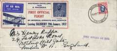 """(Southern Rhodesia) Imperial Airways F/F Salisbury to London, no arrival ds, red/blue/grey official souvenir envelope (20x9cm) from Southern Rhodesia with inset picture of Rhodes, carried on 1st regular Cape Town- London service, st. line """"First Official Air Mail"""" cachet. Slight rough opening visible verso only, see scan."""