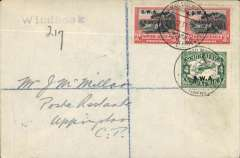 (South West Africa) South West Africa Airways, F/F Wyndhoek to Upington leg of the connecting flight, bs 20/12, to link onward mail with the Imperial Airways Experimental Air  Mail Service from London-Cape Town, plain cover franked 10d SWA opts, canc special 'Windhoek/Lugpos cds.