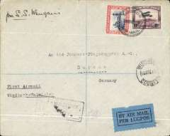 (South West Africa) South West Africa provisional internal air service/ F/F coastal service from Windhoek to Walvis Bay, bs 11/8,  South West African Airways (Pty) Ltd company cover, franked SWA 1d & 10d air. Carried to Dessau, Germany bs 1/9 by sea ms 'Per S.S. Waug....'.The cover is addressed to Junkers Flugzeugwerk, Dessau, Germany who tendered successfully to deliver this service. SWA Airways was formed by the the Junkers company and the Junkers A50 machines sent to operate this service. Nice item.