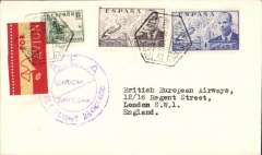 (Spain) BEA F/F, Barcelona to London, no arrival ds, plain cover franked 1.65P, violet double ring cachet, red/yellow airmail etiquette.