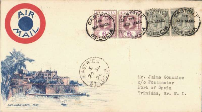 (St Lucia) FAM 6 F/F Castries to Port of Spain, bs 22/9, attractive airmail cover with pink/blue etching of San Julian Gate in lower lh corner, franked 6d x2 and 2d x2.