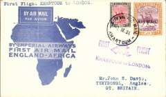 "(Sudan) Khartoum to London, bs Anglesey 20/3, flown on F/F Mwanza to London, blue/cream 'map' cver franked 2P+10ml, violet ""First Flight Khartoum to London"" cachet, Imperial Airways"