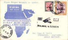 "(Sudan) Malakal to London, bs Anglesey 20/3, flown on F/F Mwanza to London, blue/cream 'map' cover franked 2P+10ml, black ""First Flight Malakal to London"" cachet, Imperial Airways. Scarcer leg."