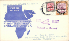"(Sudan) Malakal to Mwanza, bs 10/3, flown on F/F London to Mwanza, blue/cream 'map' cover franked 2P+10ml, violet ""First Flight Malakal to Mwanza"" cachet, Imperial Airways."