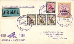(Sudan) F/F Atbara to Cape Town, bs 21/12, via Johannesburg 21/12, carried on the Imperial Airways experimental extension to Cape Town in order to place and test aircraft over the new southern part of the route in preparation for the opening of regular services which commenced in January 1932' Plain cover franked 2P, 10ml and 5mlml opts, canc superb strikes Sudan Air Mail/Atabara cds x3, superb strike violet Atabara to-Cape Town 'biplane' cachet. Small mail.