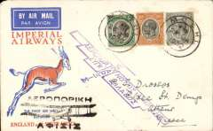 (Recovered Interrupted Mail) Scarce accelerated emergency mail, Imperial Airways inaugural Cape Town-London service, carried by 'City of Baghdad'  from Moshi to Athens, bs 13/2, via Nairobi 3/2 transit cds verso, red/orange/white Springbok souvenir cover franked 75c, canc Moshi 28 Jan 1932 cds. The flight from Cape Town was interrupted twice, first when a wheel was damaged on take off from Salisbury, and again when bad weather forced the plane to  land in a swamp near Broken Hill, ref Ni 320129 and 320129B. The 'City of Baghdad' waited at Broken Hill until February 2nd, when it took off via Mpika, Dodoma, and Moshi, arriving Nairobi 3/2. This accelerated emergency mail, backstamped between February 2nd and 4th is of considerable rarity, and of unusual interest to aerophilatelists in that it anticipated the first mails from points south of Broken Hill by several days.