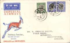 (Tanganyika) Imperial Airways 1st flight Dodoma to England, bs 17/2, red/orange/white Springbok souvenir cover franked 65c, canc Dodoma cds.