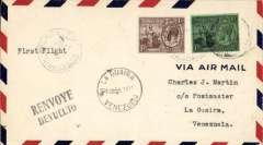 (Trinidad) Completing the Lindberg Circle, F/F FAM 5, Port of Spain to La Guaira, Venezuela, 13/2 arrival ds on front, airmail cover franked 1/1d, Pan Am.
