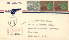 (Trinidad) Very scarce F/F FAM 5 Port of Spain to Kingston, Jamaica, bs 7/1, via Miami, registered (label) cover franked 11d, black 'R' in oval tying blue/white winged 'PAA' vignette, Pan Am.  Ref Locke JM, 1962. On Jan 9, 1931 Kingston replaced Ceinfuegos as the express service overnight stop - AAMC III 2004, p52.