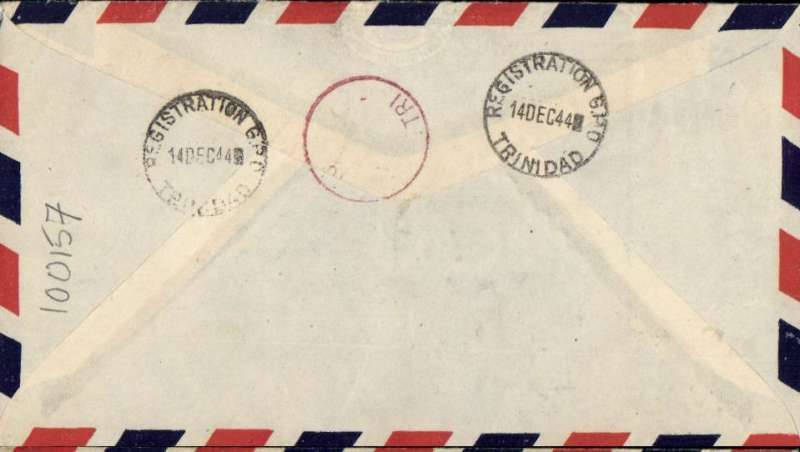 "(Trinidad) British West Indian Airways F/F Port of Spain to Kingston, Jamaica, partial strike red circular Kingston/TRI arrival mark verso, registered (label) Salvation Army airmail cover franked 7c, blue framed ""First Flight BWI Airways/Trinidad-Jamaica. Not often seen."