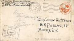 "(WW II APO) World War II censored cover flown from Aitape, New Guinea (APO 25) to US, 6c PSE, canc ""US Army Postal Service/7 BPO "" , signed and ""Passed by Army Examiner/29477"" hs. Around this time"