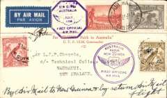 "(Australia) First official airmail, Australia-Papua & New Guinea, Sydney to Lae, bs 26/7, and first return, uncommon red/cream souvenir ""Per VH-UXX Faith In Australia""cover franked Australia 8d  inc 6d air (SG 139) and New Guinea8d inc 6d 'Air Mail' opt for return to Sydney 1/8 arrival ds, violet circular ""Australia/Papua and New Guinea"" cachet on front and purple hexagonal ""Papua/Australia"", signed by CPT Ulm."