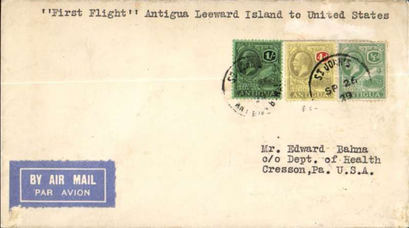 (Antigua) F/F St John's, Antigua to Miami, no arrival ds, airmail etiquette cover franked 1/4 1/2d, carried on the inaugural FAM 6 extension to Paramibo, Pan Am.