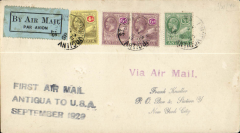 """(Antigua) F/F St John's, Antigua to Miami, and on to New York, 5/10, plain cover franked 1/4 1/2d, canc St Lucia cds tying pale blue/black airmail etiquette, black three line """"First Air Mail/Antigua to USA/September 1929"""", carried on the inaugural FAM 6 extension to Paramibo, Pan Am."""
