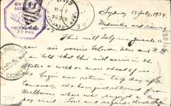 """(Australia) F/F Sydney to Lae, bs 27/7, and return, and onward to San Francisco bs 24/8, flown  Australia to New Guinea by Ulm in """"Faith of Australia"""", Australia and New Guinea cachets, franked Australia 7d, and  NG 6d air +3d, latter canc 30/7 for return, Sydney 1/8 arrival ds, special cream/magenta PC """"for use within the Commonwealth and places to British Empire"""". Nice item."""