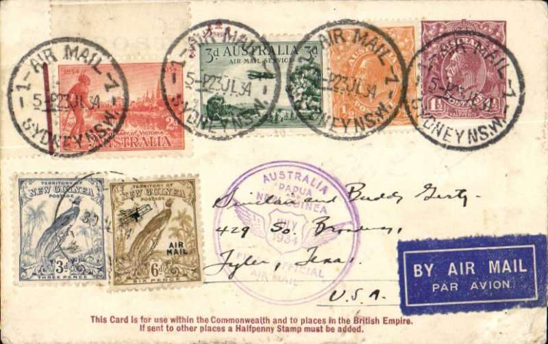 "(Australia) F/F Sydney to Lae, bs 27/7, and return, and onward to San Francisco bs 24/8, flown  Australia to New Guinea by Ulm in ""Faith of Australia"", Australia and New Guinea cachets, franked Australia 7d, and  NG 6d air +3d, latter canc 30/7 for return, Sydney 1/8 arrival ds, special cream/magenta PC ""for use within the Commonwealth and places to British Empire"". Nice item."