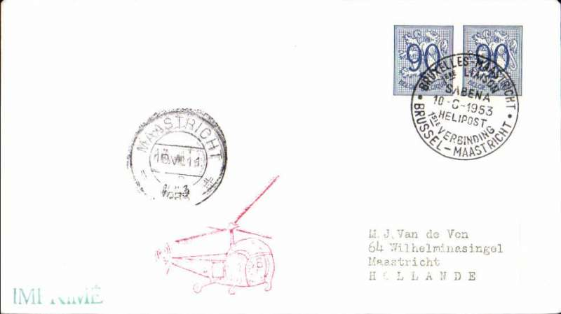 (Helicopter) SABENA first scheduled helicopter mail service, Brussels-Maastricht, arrival ds on front, plain cover franked 90cx2 canc special commemorative ds, red helicopter cachet.