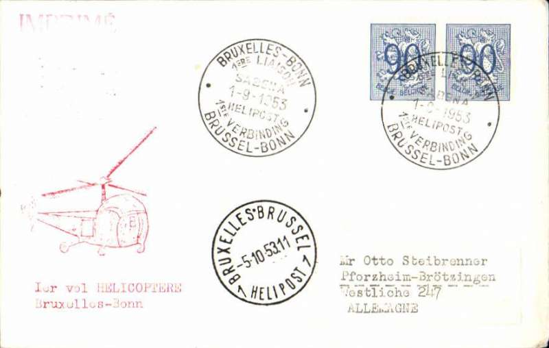 (Helicopter) SABENA first scheduled helicopter mail service, Brussels-Bonn, bs 5/10, plain cover franked 90cx2 canc special commemorative ds, red helicopter cachet.
