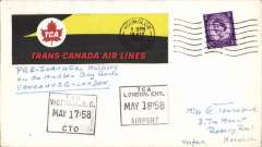 (Canada) Trans Canada Airlines, Lockheed Super Constellation, scarce Pre Inaugural (Test) flight on the Hudson Bay route, Vancouver to London, plain cover franked GB 3d POA Hounslow 18 May 1958 cds, black framed 'Victoria BC/May 17 58' depart hs and black TCA/London, Eng/May 18 58' arrival hs, large red/black/yellow TCA vignette on front, and large red/blue black/white TCA label verso. The F/F of the TCA Vancouver-London service was on May 29, 1958.