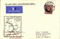 (GB Internal) F/F Railway Air Service Inland Airmail Service, Manchester to Cowes, bs 21/8, etiquette cover, black framed 'map' cover, franked 1 1/2d, carried in the first through flight on Aug 21.